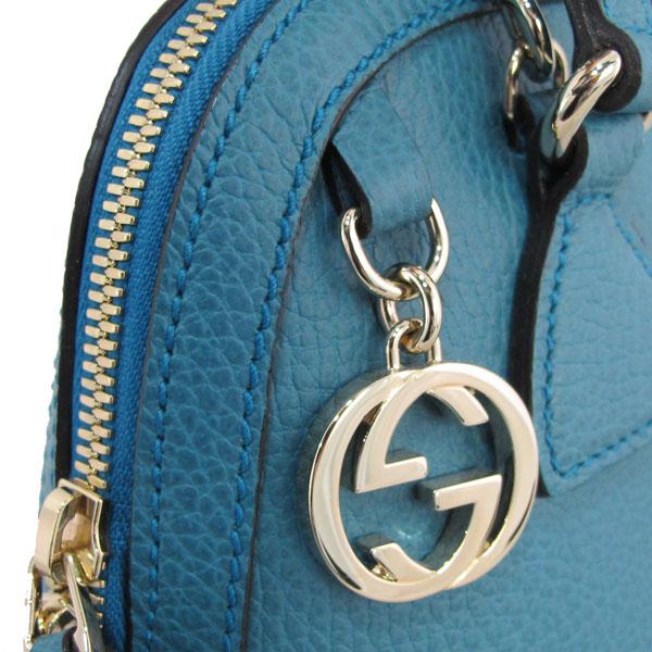 Gucci(구찌) 449661 코발트 블루 컬러 레더 인터로킹 G 참 장식 MINI DORM (미니 돔) 토트백 + 숄더스트랩 [대구반월당본점] 이미지3 - 고이비토 중고명품