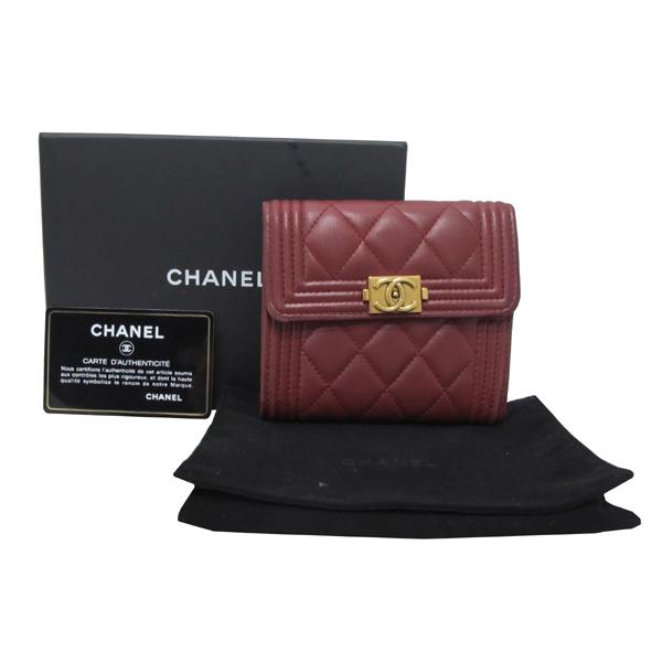 Chanel(샤넬) A84068Y 와인 컬러 램스킨 보이 샤넬 S 사이즈 반지갑 [대구반월당본점]