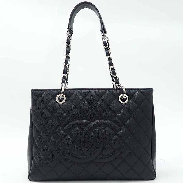 Chanel(샤넬) A50995 캐비어스킨 블랙 그랜드샤핑 은장 로고 체인 숄더백 [강남본점]