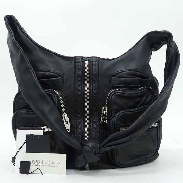 Alexanderwang (알렉산더 왕) 블랙 컬러 레더 집업 포켓 크로스백 [강남본점]