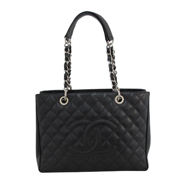 Chanel(샤넬) A50995 캐비어스킨 블랙 그랜드샤핑 COCO스티치 은장 메탈 체인 숄더백 [대구동성로점] 이미지2 - 고이비토 중고명품