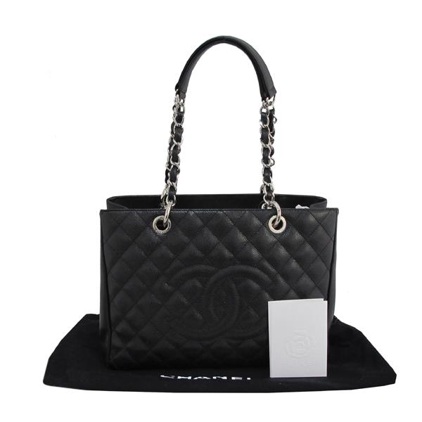 Chanel(샤넬) A50995 캐비어스킨 블랙 그랜드샤핑 COCO스티치 은장 메탈 체인 숄더백 [대구동성로점]