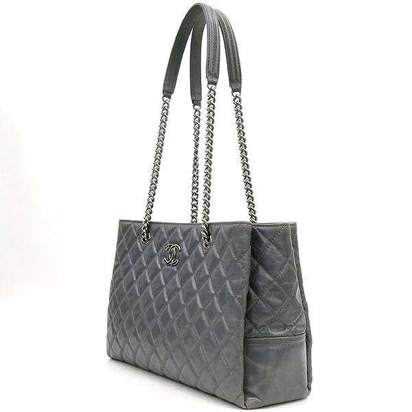 Chanel(샤넬) COCO로고 장식 스티치 퀼팅 빈티지 레더 쇼핑 쇼퍼 은장 체인 숄더백 [강남본점] 이미지3 - 고이비토 중고명품