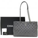 Chanel(샤넬) COCO로고 장식 스티치 퀼팅 빈티지 레더 쇼핑 쇼퍼 은장 체인 숄더백 [강남본점]
