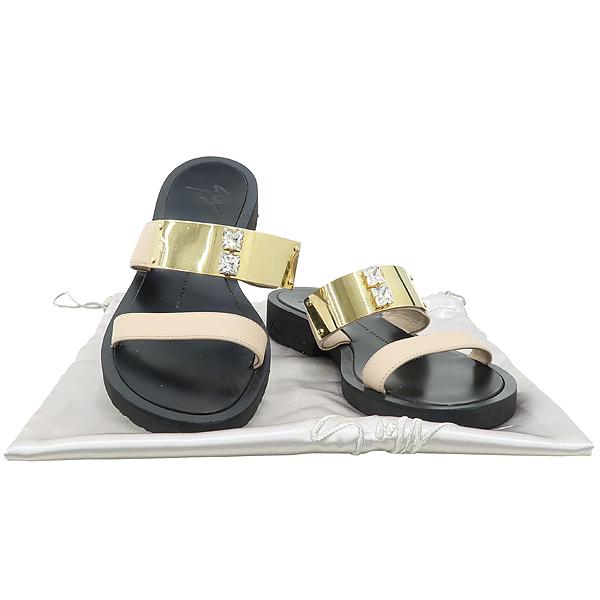 GIUSEPPE ZANOTTI(쥬세페자노티) 블랙 컬러 베이지 레더 금장 크리스탈 장식 여성용 슬리퍼 [강남본점]