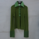 D&G(돌체&가바나) 그린 컬러 울 실크 혼방 카라 디테일 티셔츠 [부산센텀본점]