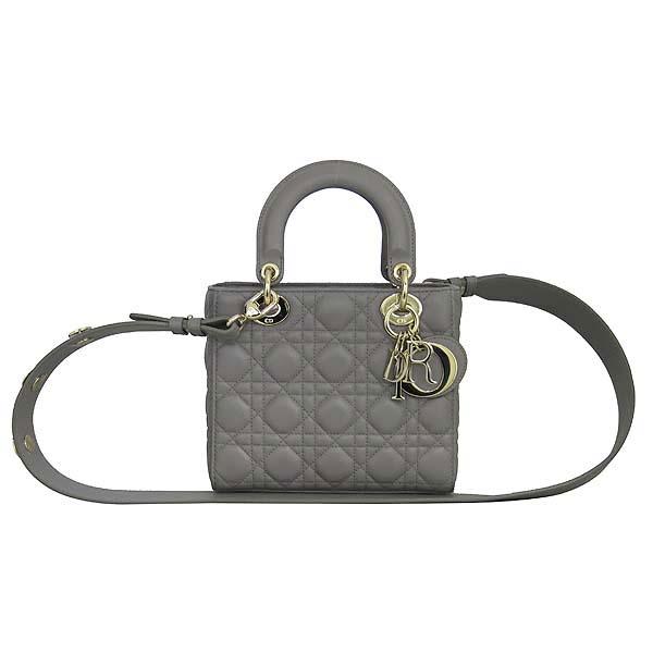 Dior(크리스챤디올) M0532 은장 그레이 램스킨 까나쥬 LADY DIOR(레이디 디올) 미니 2WAY [컬러배지 컬렉션] [동대문점]
