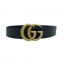 Gucci(구찌) 406831 더블 GG로고 마몬트 장식 블랙 레더 남성용 벨트 [부산센텀본점]