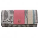 Louis_Quatorze (루이까또즈) 로고 프린팅 PVC 캔버스 핑크 레더 트리밍 금장 로고 여성용 장지갑 [인천점]