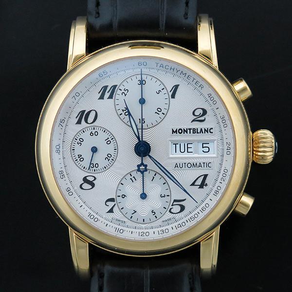 Montblanc(몽블랑) 4810 컬렉션 7106 금장 마이스터퀵 데이-데이트 크로노그래프 남성용 오토메틱 레더 밴드 시계 [인천점]