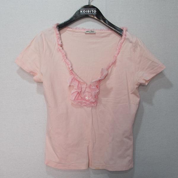 MiuMiu(미우미우) 100% 코튼 브이넥 핑크 컬러 여성용 티셔츠 [대구반월당본점]