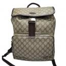 Gucci(구찌) 246103 GG로고 PVC 슈프림 캔버스 브라운 레더 트리밍 원 포켓 백팩