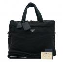 Prada(프라다) 삼각 로고 장식 블랙 패브릭 브리프 케이스 서류가방 + 크로스 스트랩 2WAY [부산센텀본점]