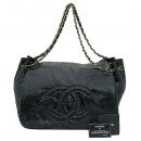 Chanel(샤넬) 블랙 페이던트 COCO 로고 금장 체인 빅 플랩 숄더백 [부산센텀본점]