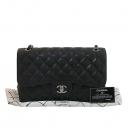Chanel(샤넬) A58600 캐비어스킨 블랙 클래식 점보 L사이즈 은장로고 체인 플랩 숄더백 [대구동성로점]