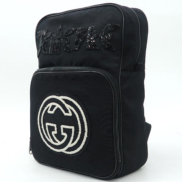 Gucci(구찌) 536724 GG로고 인터로킹 로고 스팽클 자수 장식 블랙 패브릭 백팩 [강남본점] 이미지3 - 고이비토 중고명품