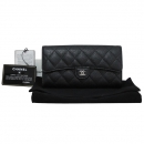 Chanel(샤넬) A80758Y01588 블랙 캐비어스킨 은장 COCO 로고 플랩 장지갑 [대구반월당본점]