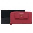 Prada(프라다) 1M0506 핑크 사피아노 리본 장식 짚업 장지갑 [인천점]