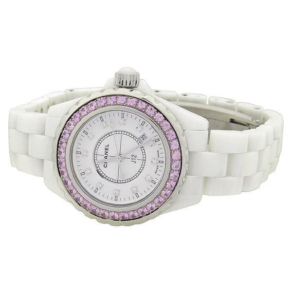 Chanel(샤넬) H2010 J12 화이트 세라믹 12포인트 다이아 베젤 핑크 사파이어 33MM 쿼츠 여성용 시계 [강남본점] 이미지2 - 고이비토 중고명품