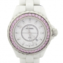 Chanel(샤넬) H2010 J12 화이트 세라믹 12포인트 다이아 베젤 핑크 사파이어 33MM 쿼츠 여성용 시계 [강남본점]