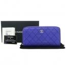 Chanel(샤넬) A80143Y25104 블루 컬러 스티치 은장 로고 지피월릿 장지갑 [강남본점]