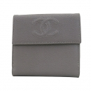 Chanel(샤넬) A48650 그레이 캐비어스킨 COCO 로고 반지갑 [부산센텀본점]