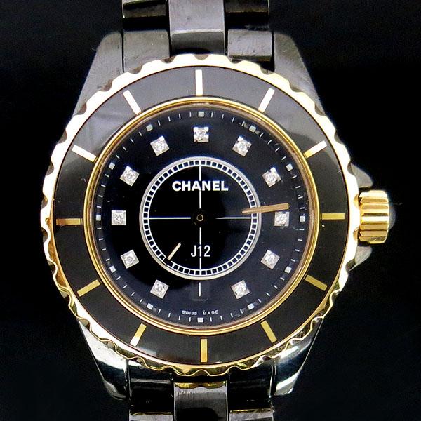 Chanel(샤넬) H2543 J12 18K 골드 베젤 콤비 블랙 세라믹 11포인트 여성용 시계 [동대문점]