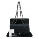 Chanel(샤넬) A58600 캐비어스킨 블랙 클래식 점보 L사이즈 은장로고 체인 플랩 숄더백 [부산센텀본점]