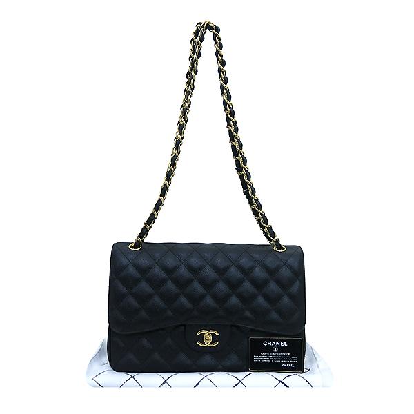 Chanel(샤넬) A58600 캐비어스킨 블랙 클래식 점보 L사이즈 금장로고 체인 플랩 숄더백 [부산센텀본점]