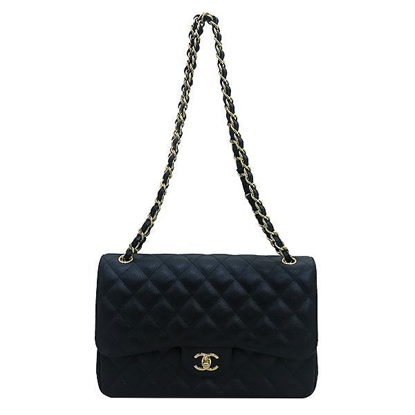 Chanel(샤넬) A58600 캐비어스킨 블랙 클래식 점보 L사이즈 금장로고 체인 플랩 숄더백 [부산센텀본점] 이미지2 - 고이비토 중고명품