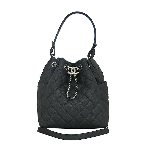 Chanel(샤넬) A91273 블랙 소프트캐비어 드로스트링 버킷 스몰 체인 토트백+숄더 스트랩 [동대문점]