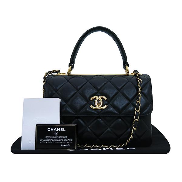 Chanel(샤넬) A92236 램스킨 블랙 컬러 퀼팅 TRENDY CC 트렌디 CC 핸들 골드메탈 금장로고 플랩 토트백 + 체인스트랩 2WAY [부산센텀본점]