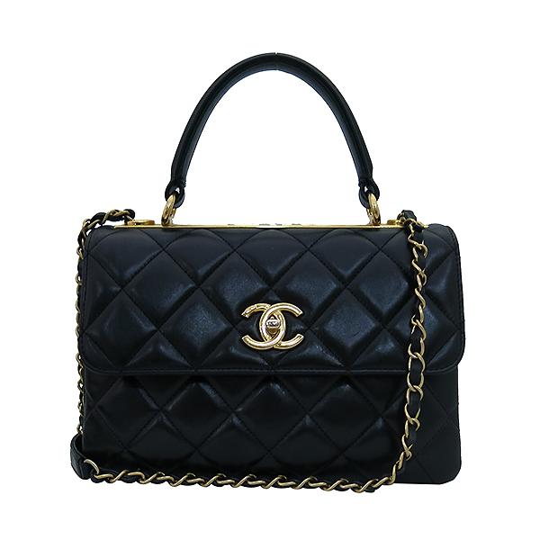 Chanel(샤넬) A92236 램스킨 블랙 컬러 퀼팅 TRENDY CC 트렌디 CC 핸들 골드메탈 금장로고 플랩 토트백 + 체인스트랩 2WAY [부산센텀본점] 이미지2 - 고이비토 중고명품