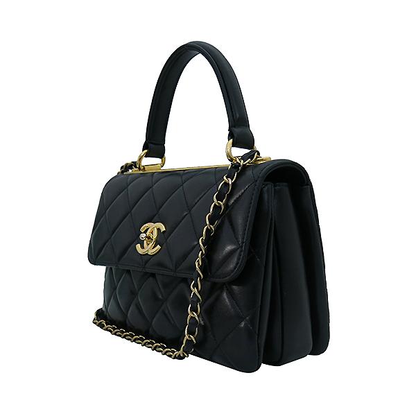 Chanel(샤넬) A92236 램스킨 블랙 컬러 퀼팅 TRENDY CC 트렌디 CC 핸들 골드메탈 금장로고 플랩 토트백 + 체인스트랩 2WAY [부산센텀본점] 이미지3 - 고이비토 중고명품