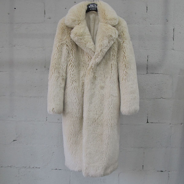 08SIRCUS(08서커스) 아이보리 컬러 페이크 퍼 여성용 코트 [동대문점]