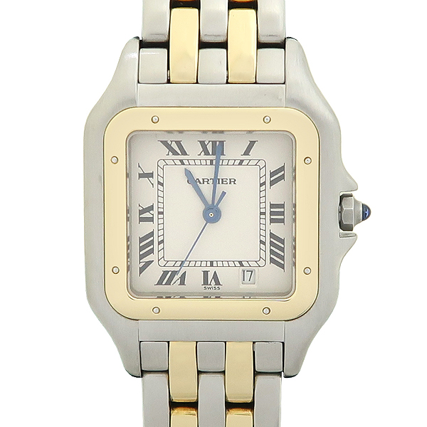 Cartier(까르띠에) PANTHERE 팬더 쿼츠 데이트 로마인덱스 18K 옐로우골드 콤비 스틸 밴드 남성용시계 [강남본점] 이미지5 - 고이비토 중고명품