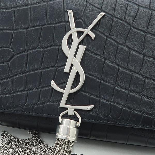 SAINTLAURENT PARIS(생로랑파리) 354120 16 F/W 블랙 크로커다일 무늬 소가죽 클래식 테슬 사첼 체인 숄더겸 크로스백 [강남본점] 이미지4 - 고이비토 중고명품