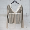 D&G(돌체&가바나) 면 혼방 카키 컬러 레이스 장식 여성용 티셔츠 [동대문점]