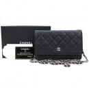 Chanel(샤넬) A33814 캐비어스킨 블랙 컬러 WOC(월릿 온 체인) 금장로고 체인 크로스백 [강남본점]