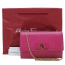 Ferragamo(페라가모) 21 D855 핑크 레더 GINNY 지니 은장 바라 리본장식 체인 크로스백 [인천점]