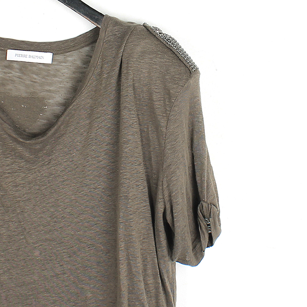 Balmain(피에르 발망) 견장 체인 장식 여성용 반팔 티셔츠 [강남본점] 이미지2 - 고이비토 중고명품