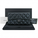 Chanel(샤넬) A31506 블랙 캐비어스킨 은장 로고 클래식 장지갑 [부산센텀본점]