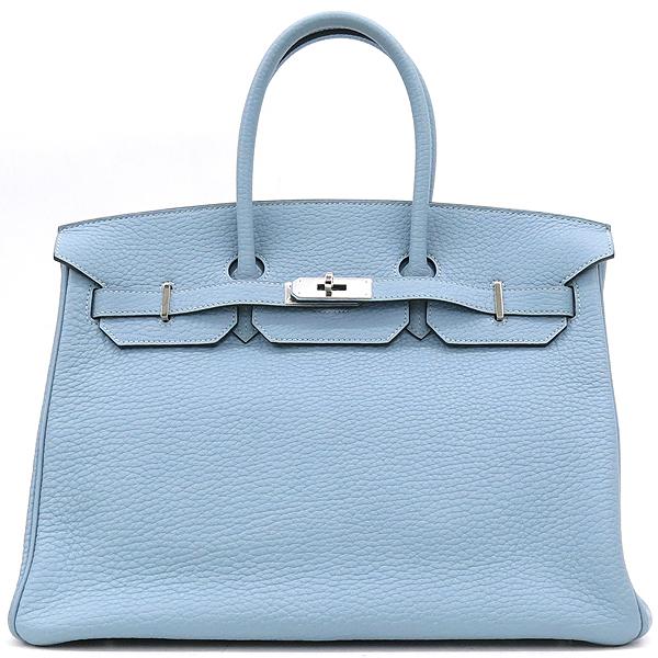 Hermes(에르메스) 은장 로고 스카이 블루 컬러 레더 벌킨 35 사이즈 토트백 [강남본점] 이미지2 - 고이비토 중고명품
