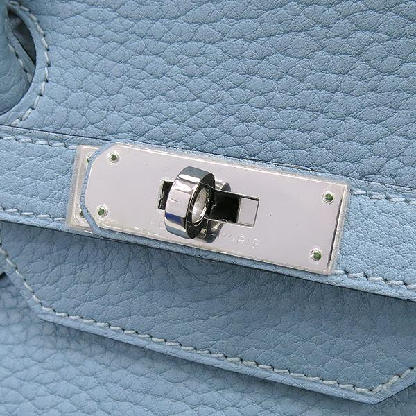 Hermes(에르메스) 은장 로고 스카이 블루 컬러 레더 벌킨 35 사이즈 토트백 [강남본점] 이미지4 - 고이비토 중고명품