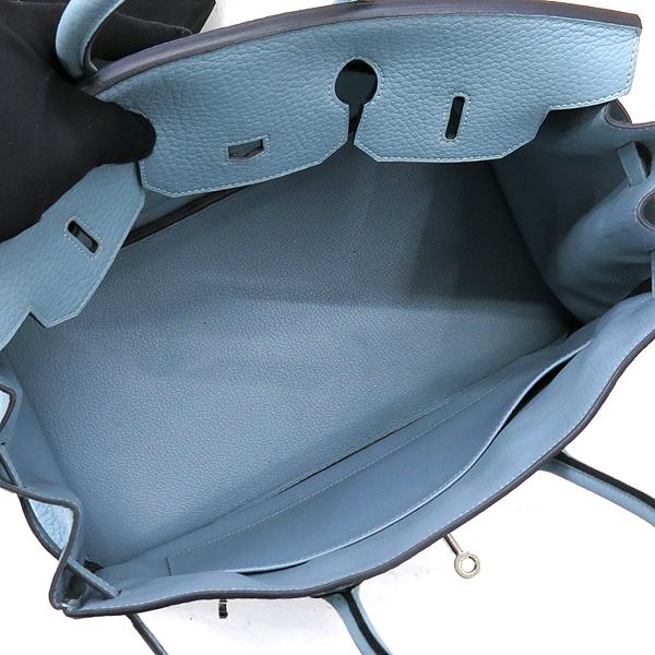 Hermes(에르메스) 은장 로고 스카이 블루 컬러 레더 벌킨 35 사이즈 토트백 [강남본점] 이미지6 - 고이비토 중고명품