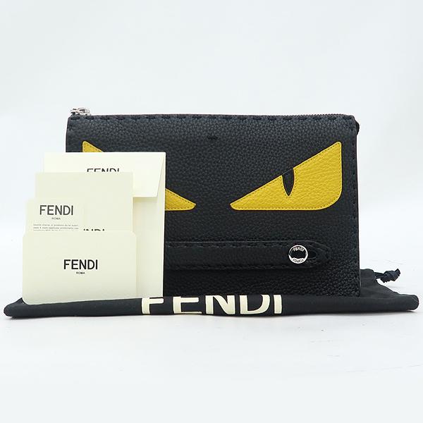 Fendi(펜디) 7VA350 셀러리아 은장 로고 장식 블랙 레더 백버드 클러치 [강남본점]