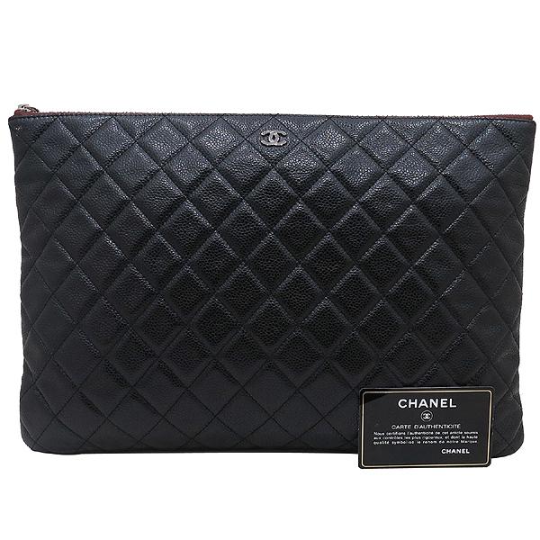 Chanel(샤넬) A69251 캐비어 블랙 은장 로고 L사이즈 클러치백 [인천점]