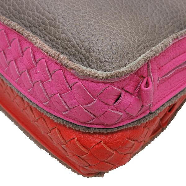 BOTTEGAVENETA (보테가베네타) 브라운 컬러 레더 더블 지퍼 핑크 앤 레드 레더 트리밍 클러치 겸 다용도 파우치 [인천점] 이미지5 - 고이비토 중고명품