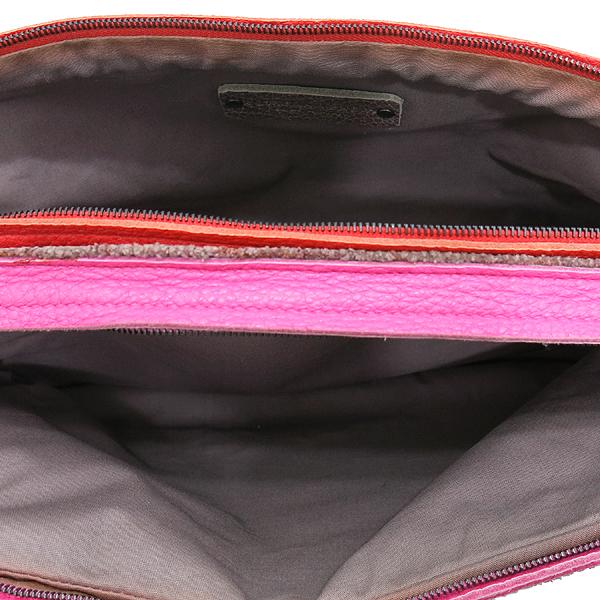 BOTTEGAVENETA (보테가베네타) 브라운 컬러 레더 더블 지퍼 핑크 앤 레드 레더 트리밍 클러치 겸 다용도 파우치 [인천점] 이미지6 - 고이비토 중고명품