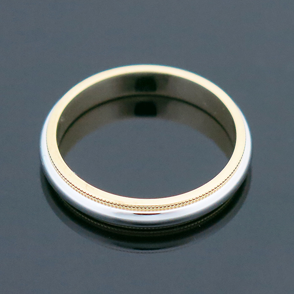 Tiffany(티파니) PT950(플래티늄) + 18K 옐로우골드 콤비 밀그레인 3MM 반지 -23호 [부산센텀본점] 이미지4 - 고이비토 중고명품